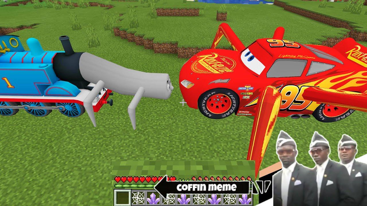 Worm Thomas Train vs Spider McQueen in Minecraft - Coffin Meme