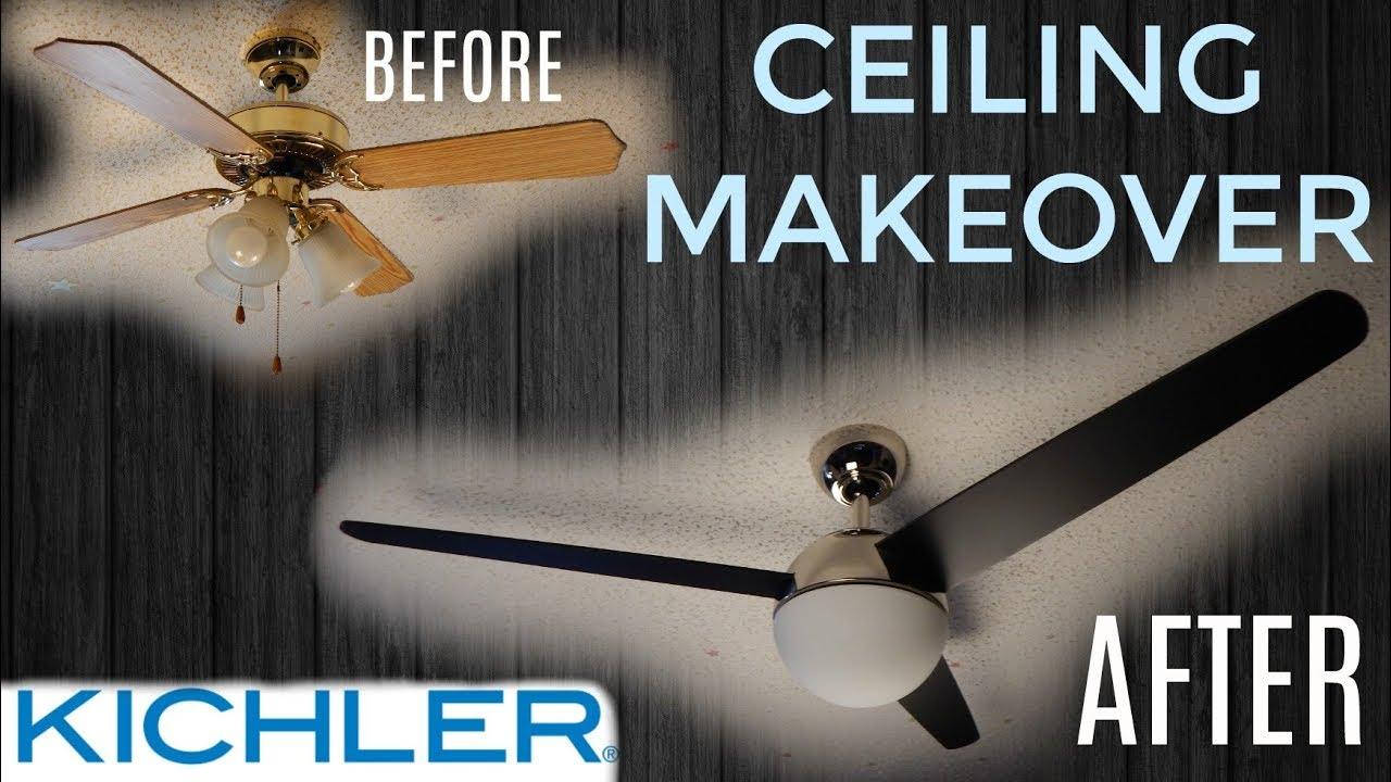 Ceiling makeover kichler bisc ceiling fan instant update youtube ceiling makeover kichler bisc ceiling fan instant update mozeypictures Gallery