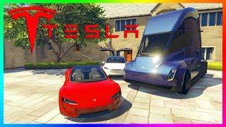 GTA Online TESLA DLC Update Concept - Roadster 2020 Super Car, Model X, Flamethrower & MORE! (GTA 5)