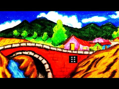 Coloring With Oil Pastels Crayon Lanscape Of The River Bridge House For Kids