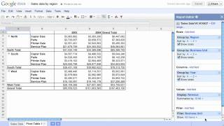 Pivot Tables in Google Docs