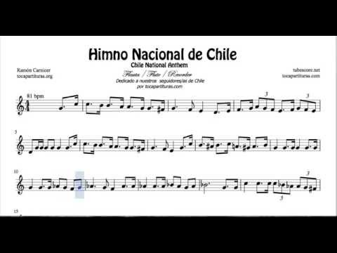 Chile National Anthem Sheet Music for Flute