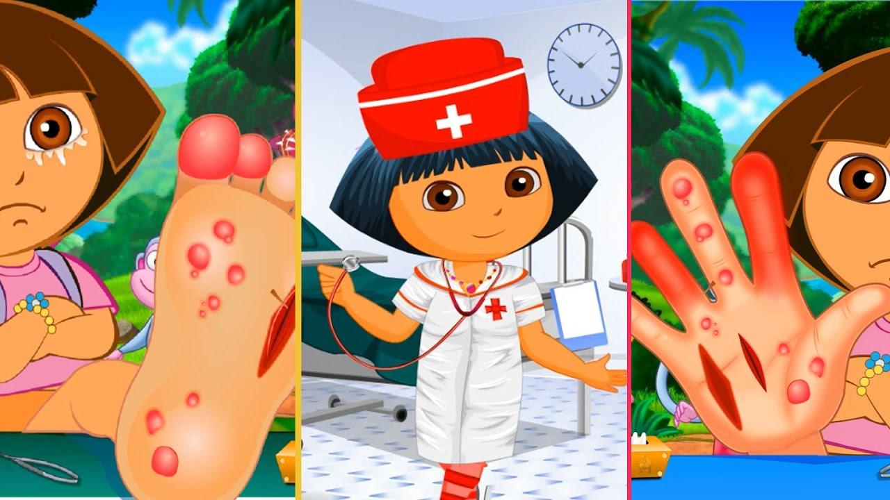 dora nurse story foot and hand surgery cartoon games for kids