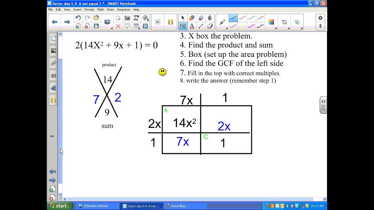 Factoring When A Is Not Equal To 1 The X Box Method