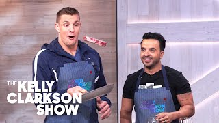 Watch Gronk Feed Luis Fonsi Steak While Cooking With Chef Curtis Stone And Kelly