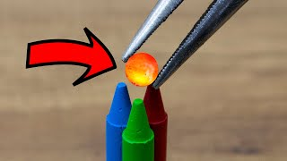 EXPERIMENT Glowing 1000 Degree METAL BALL vs Crayons