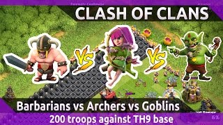 200 barbarians vs archers vs goblins || Clash of clans game play
