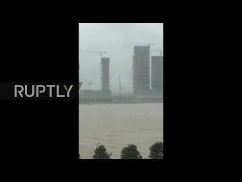 China: People and trees flung across the streets as Typhoon Hato smashes into Macao