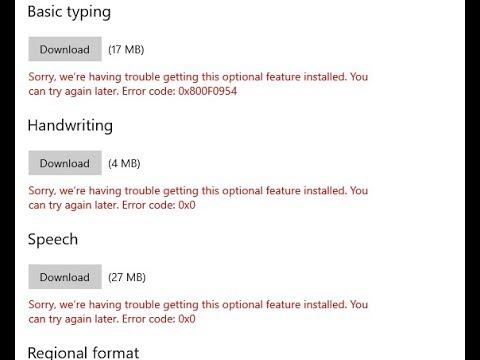 Error Code 0x800f0954 Optional Feature