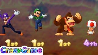 Mario Party 10 Coin Challenge - Waluigi v Luigi v DK v Toad Master Difficult | CRAZYGAMINGHUB