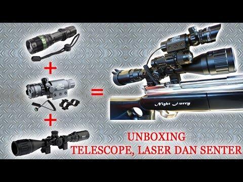 Unboxing telescope spike 3 12x40 aol laserscope flashlight youtube