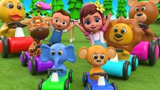 Animals Cars and Parking Slider Toy Set 3D | Little Babies Learn Animals Names | Cartoon for Kids