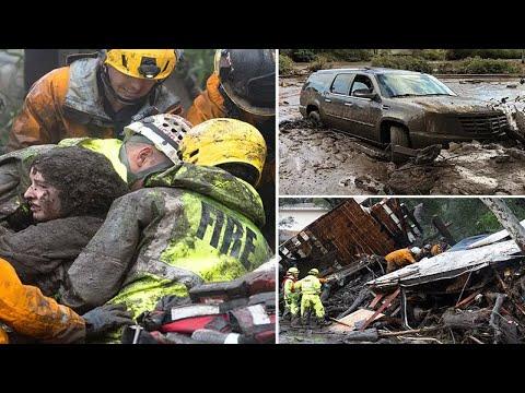 Horror as 15 left dead after California mudslides engulf homes