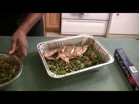 Red Snapper Fish Stuffed With Callaloo