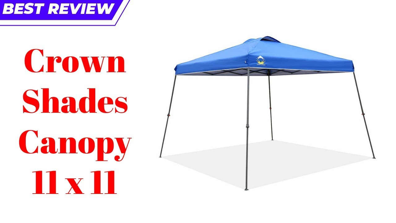x 11ft CROWN SHADES Patented 11ft Slant Leg One Push Up Clia Instant Folding Canopy with Wheeled Bag Blue