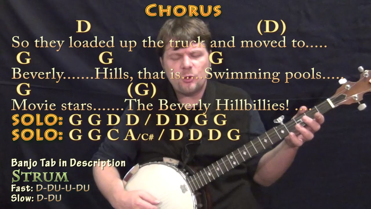 The Ballad of Jed Clampett (TV Theme) Banjo Cover Lesson in G with  Chords/Lyrics
