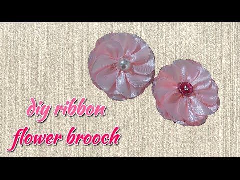 DIY Handmade Brooches From Ribbon   Pink Flower Brooch Pin   Brooch Craft Ideas