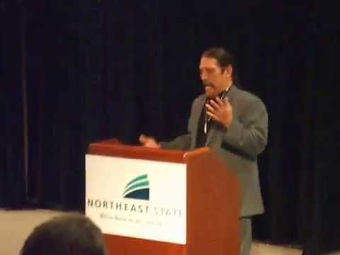 Danny Trejo speaking at Northeast State Community College