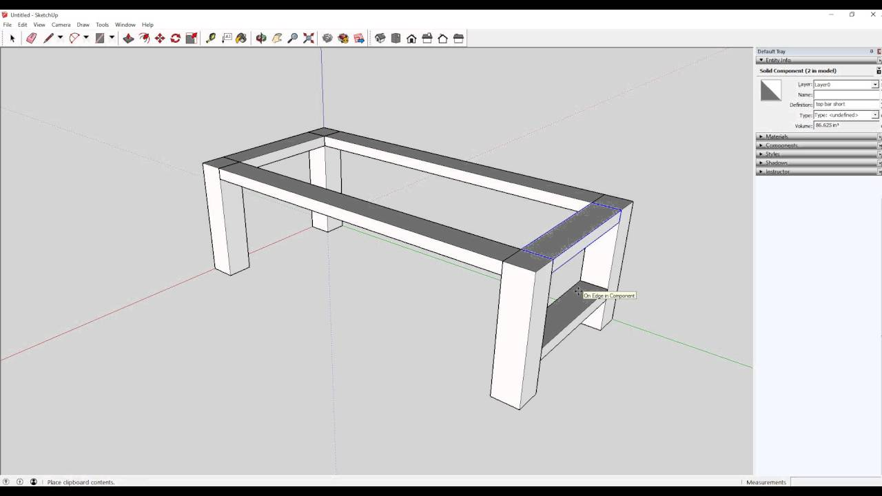 Learning project table design in sketchup youtube for Table design sketchup