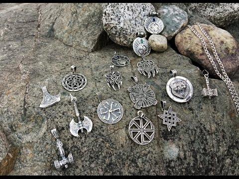Различные славянские обереги из серебра (Крес, лунницы, молоты, печати Велеса)