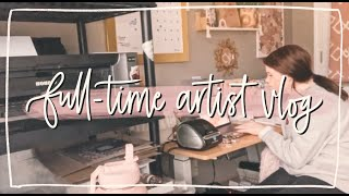 full-time artist vlog | fulfilling orders, supplies haul, printing + packaging thumbnail