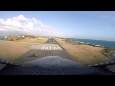 Falcon 20 Landing Cockpit Grenada (nose view)
