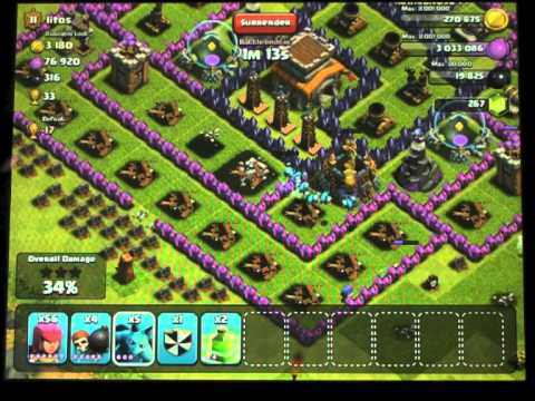Clash of clans just max archers, wall breakers and s smattering of minions :)