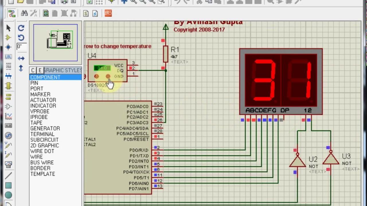 Interfacing DS18B20 Temperature Sensor with AVR ATmega8