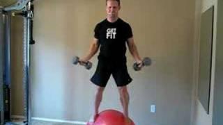 Jon Ham Ball Squats + Shoulder Press, Lateral + Front Raise