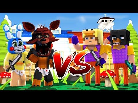 Minecraft - HELLO NEIGHBOR Vs FNAF FOXY - BABY MAX TURNS INTO THE NEIGHBOR - W/ Tiny Turtle, Duck