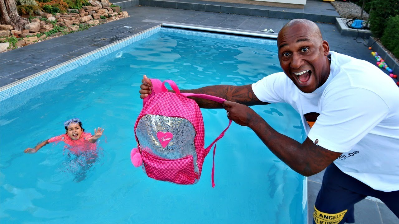 Tiana S School Backpack In Our Swimming Pool Prank Youtube