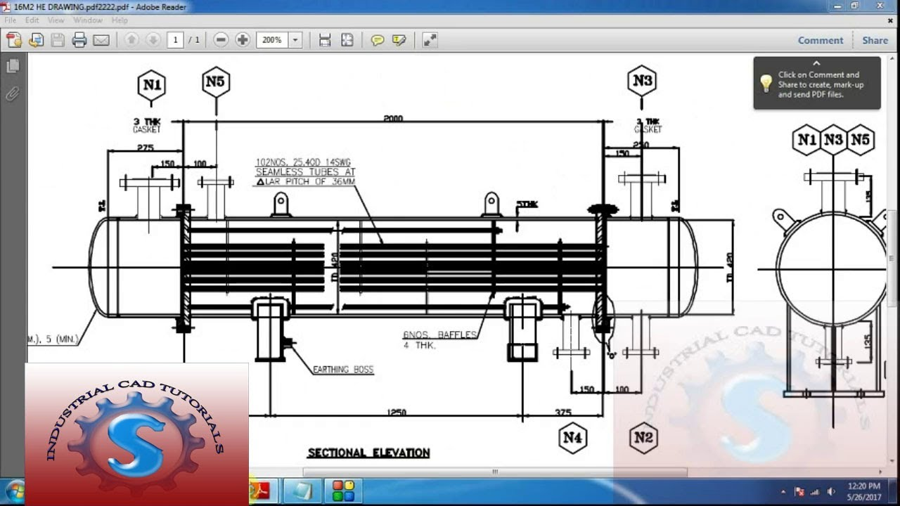 how to know the capacity of heat exchanger with detail drawing tutorial #36