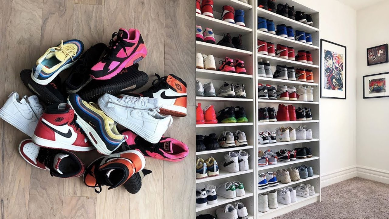 how to use ikea shelves to build a sneaker closet tutorial