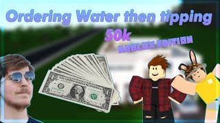 Ordering Tap Water then Tipping $50,000 (Roblox Bloxburg Edition)