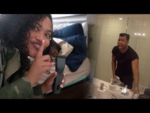 SHE GOT REVENGE!!! 😳😨 CRAZY GIRLFRIEND CUTS BOYFRIEND HAIR WHILE HES SLEEPING!!! (REVENGE PRANK)