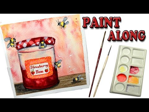Watercolor Tutorial Step by Step Paint Along Strawberry Jam and Bee's