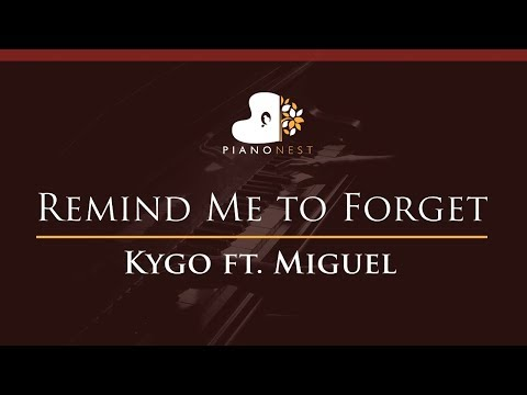 Kygo - Remind Me to Forget ft. Miguel - HIGHER Key (Piano Karaoke / Sing Along)