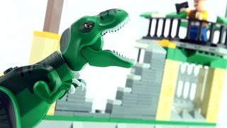 Tyrannosaurus Rex Escape - Lego compatible dinosaur bricks - Stop motion dinosaurs build