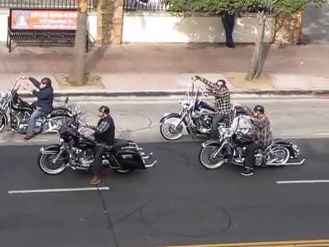 Motorcycle group rides thru downtown LA