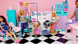 Barbie Doll Laundry Day Routine - Toy Washing Machine Laundry Mat Playset