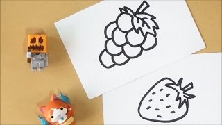 [thed] How to draw a strawberry & grape / ToyHouse / 딸기 포도 쉽게 그리기