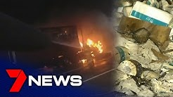 Truck full of toilet paper catches fire | 7NEWS