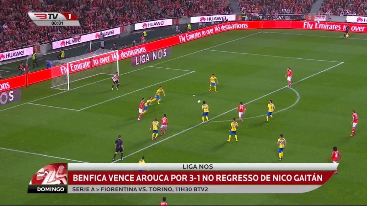 Resumo Benfica: Resumo Benfica 3 X Arouca 1