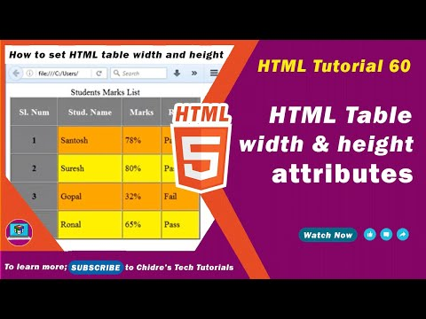 HTML Video Tutorial - 60 - Html Table Width And Html Table Height Attribute