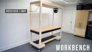DIY workbench with built in light // DIY Woodworking