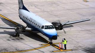 """Skywest Airlines [United] """"Embraer EMB-120"""" Engine Shutdown at Portland Airport PDX"""