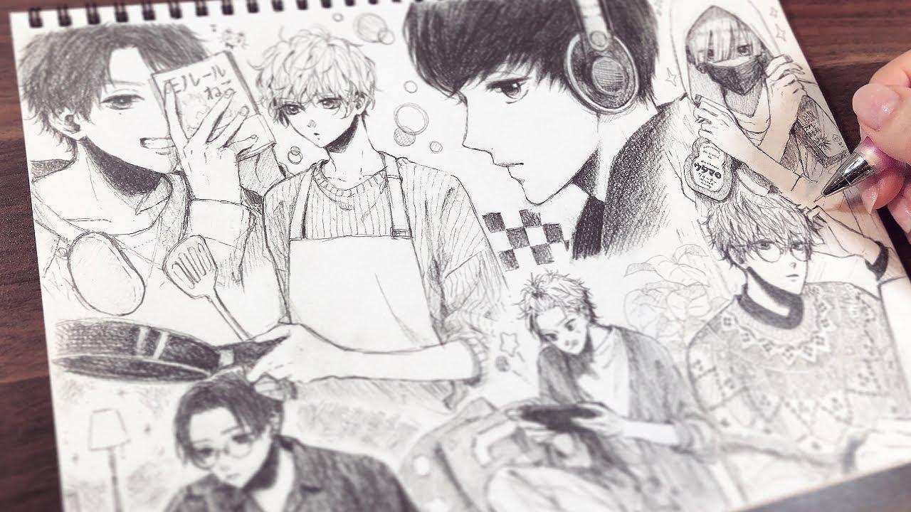 【アナログ】おうちで過ごす男の子1ページいっぱいに描いてみた🏠💭Drawing boys spending at home【メイキング】