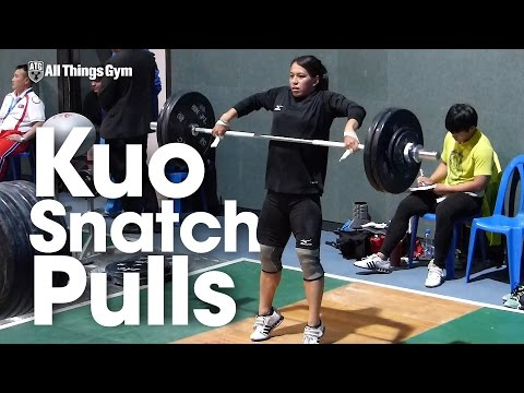 Kuo Hsing-Chun Snatch Pulls 2016 Asian Weightlifting Championships Training Hall