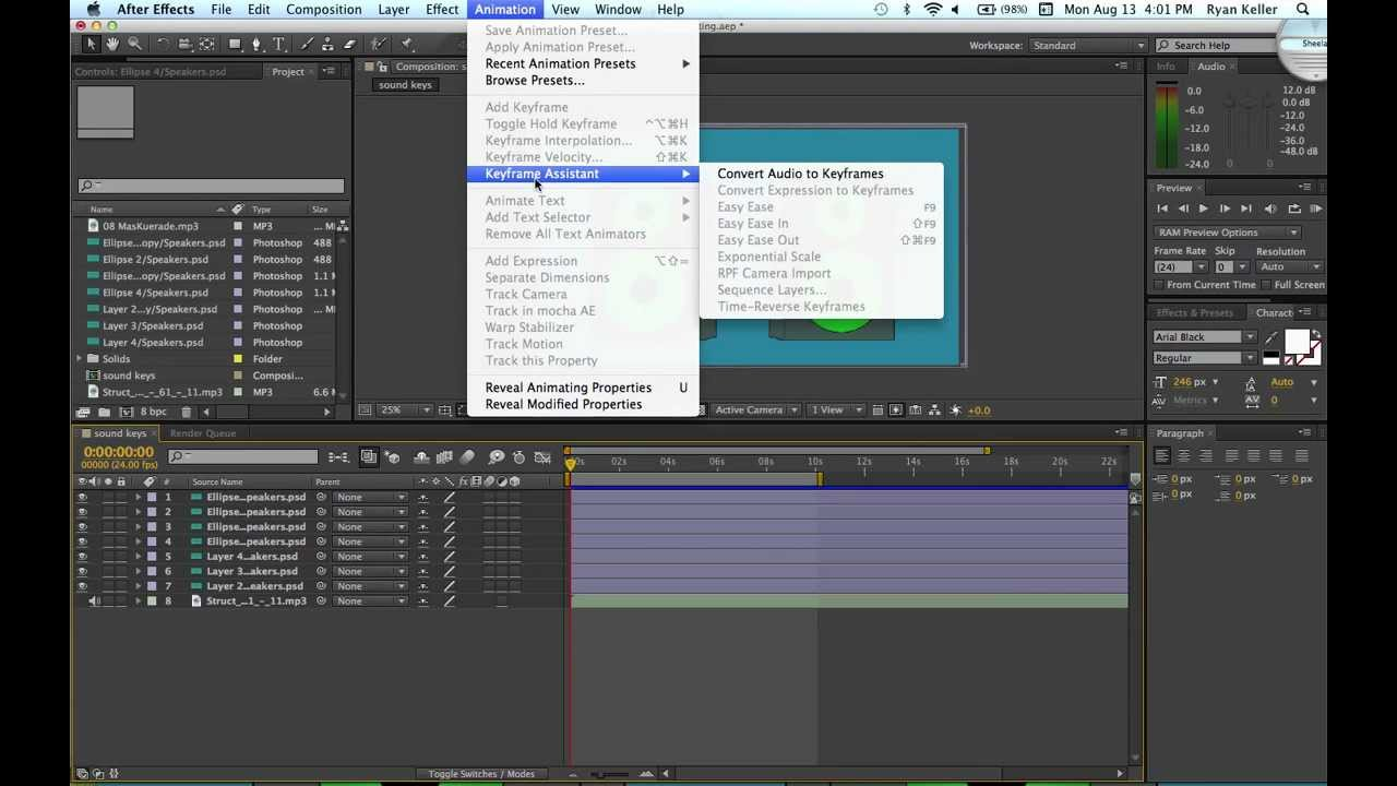 how to work audio in after effects
