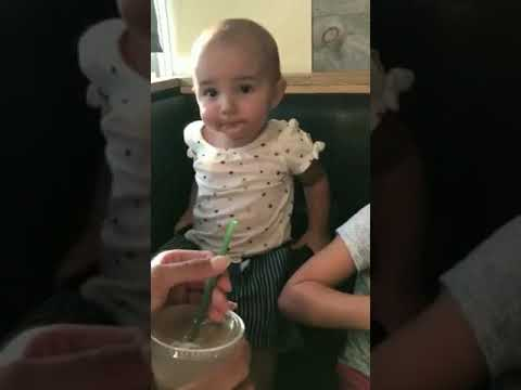 Baby Drinking Chocolate Milk for the First Time - YouTube